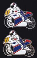 66927-Lot De 2 Pin's .Moto.dos Or Et Argent - Motorbikes
