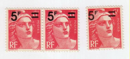 Marianne De Gandon -6f Rose Surchargée 5f - YT 827 - Variété - Varietà: 1945-49 Nuovi