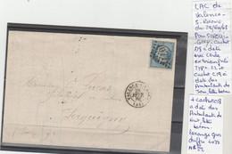 LAC DE VALENCE S RHONE LE 28/FEVR/68 LOZANGE GROS CHIFFRE 4077 POUR SEROUIGNY Nr 22 - Poststempel (Briefe)