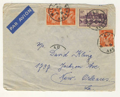 (Z11) - Y&T N° 500 ANGERS +435 X3 - LETTRE AVION MILLAU => USA 1941 - TARIF 1-10 GRS DU 01/01/1940 - Storia Postale