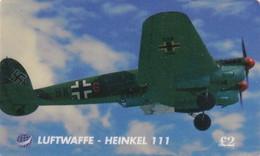 UK - Luftwaffe, Heinkel 111, UK International Prepaid Card 2 Pounds, Exp.date 01/07/97, Used - Army