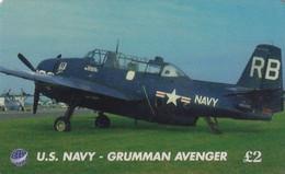 UK - US Navy, Grumman Avenger, UK International Prepaid Card 2 Pounds, Exp.date 01/07/97, Used - Army
