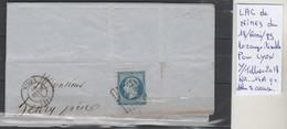 LAC DE NIMES  LE 18/FEVR/89 LOZANGE ILISIBLE  POUR LYON  Nr 14 A C  BLEU SUR AZURE - Poststempel (Briefe)