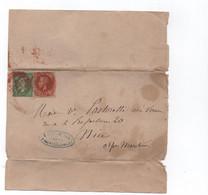 France - S/env. Mixte- 5 Cts Nap III-N.L Vert Et 2 Cts Nap III Lauré Cachet A Date Rouge Des Imprimés - Peu Commun - Poststempel (Briefe)