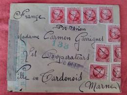 1938 - Espagne Vers France - Censure Republica Espagnola - Censure De Guerre - Bande De Réparation - - 1931-50 Lettres