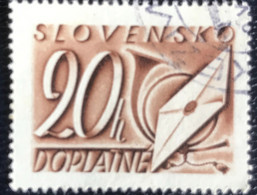 Slovensko  - P3/8 - (°)used - 1942 - Michel Nr. 25 - Brief En Posthoorn - Slovakia