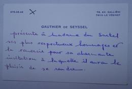 Invitation Rallye Sartel Huré - Le Vésinet - Cartes De Visite Famille DE SEYSSEL - Visitenkarten
