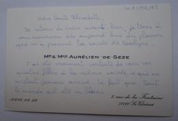 Invitation Rallye Sartel Huré - Le Vésinet - Cartes De Visite Famille DE SEZE - Visitenkarten