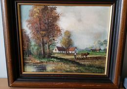 2 Mooie Landschap Schilderijtjes - Olieverf Op Doek - Olii
