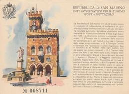 CARTOLINA NON VIAGGIATA REPUBBLICA SAN MARINO TURISMO SPORT E SPETTACOLO (ZX927 - San Marino