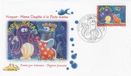 Polynésie FDC 2015 - Yvert 1084 Humour Mama Dauphin à La Poste Marine - FDC