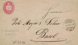 Dybli Tübli-Brief 10 - F. Oubussier Arau Nach Basel 1870 (rsA) - Postwaardestukken