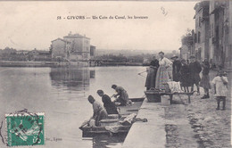 GIVORS  Un Coin Du Canal  LES LAVEUSES   ( Plan Animé ) - Givors