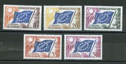 France - Frankreich Service 1958-59 Y&T N°S17 à 21 - Michel N°DCE2 à 6 *** - Conseil De L'Europe - Neufs