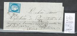 Lettre Ambulant Cherbourg- Paris - Identifiée De CARENTAN - Manche -1872 - Postmark Collection (Covers)