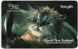 New Zealand - Advertising Cards - Onwards '92 - Fluffy The Cat, 1993, 5$, 10.000ex, Used - Nuova Zelanda