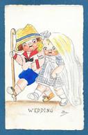 BAMBINI WEDDING NOZZE MATRIMONIO NON VG. DIPINTA A MANO N°929 - Humorous Cards