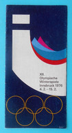 WINTER OLYMPIC GAMES INNSBRUCK 1976 Official Publication * Jeux Olympiques Olympia Olympiade Olympische Spiele - Olympische Spiele