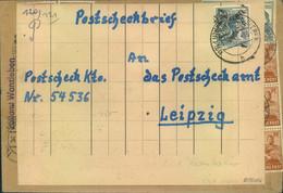 """1948, Bezirkshandstempel """"20"""",, ProviSorischer Postscheckbrief 12 Pfg. LUTHERSTADT EISLEBEN - Zona Soviética"""