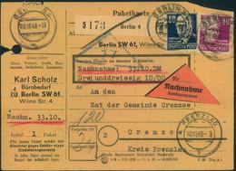 1949, Nachnahme-Paketkarte Ab BERLIN N 4 Nach Prenzlau - Cartas