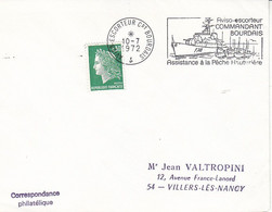 Aviso Escorteur Commandant Bourdais ,flamme Illustrée Sur Lettre De 1972 - Seepost