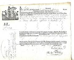 """Contrat De Transport De Café Par Bateau 1785 / Signé FABVRE / Bateau """"Le Chasseur De Bordeaux"""" Pour Chicon Bourbon - ... - 1799"""