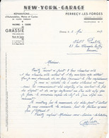 1947 - NEW-YORK GARAGE - PERRECY-LES-FORGES Téléphone N° 7. Réparations Automobiles, Motos, Cycles - Automobile