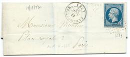 N° 14 BLEU NAPOLEON SUR LETTRE / FARMOUTIERS POUR PARIS / 11 NOV 1857 / PC 1239 IND 6 - Poststempel (Briefe)