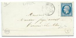 N° 14 BLEU NAPOLEON SUR LETTRE / ST REMY DE PROVENCE MAURIES POUR TARASCON / 30 DEC 1857 / PC 3258 IND 4 - Poststempel (Briefe)