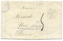 MARQUE POSTALE PARIS POUR NICE / 1856 - Poststempel (Briefe)