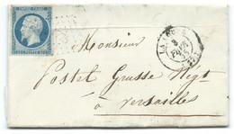 N° 14 BLEU NAPOLEON SUR LETTRE / LA LOUPE POUR VERSAILLES / 3 FEV 1855 - Poststempel (Briefe)