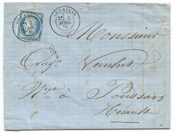 N° 60 BLEU CERES SUR LETTRE / LE CAYLAR POUR POUSSAN / 1876 - Poststempel (Briefe)