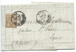30c SAGE SUR LETTRE / NICE POUR LYON / 1883 - Marcofilie (Brieven)