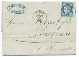 N° 60 BLEU CERES SUR LETTRE / AVIGNON POUR POUSSAN /  1876 / TIMBRE DE QUITTANCES - Poststempel (Briefe)