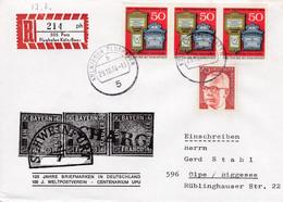 """Eingedruckter R-Zettel,  505 Porz Flughafen Köln/Bonn,,  Nr. 214 Ub """" Ph"""", 125 Jahre Briefmarken - [7] Federal Republic"""