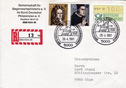 """Eingedruckter R-Zettel,  5000 Köln 80,,  Nr. 12 Ub """" Hb"""", Gegenwartphilatelie - [7] Federal Republic"""