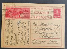 Rumänien 1943, Postkarte Zensur BUKAREST Gelaufen Stockholm Schweden - 1918-1948 Ferdinand, Charles II & Michael