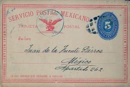 1892 , MÉXICO - ENTERO POSTAL CIRCULADO ,  MAZATLAN - MÉXICO D.F. , FECHADOR AZUL , SERVICIO INTERIOR , LLEGADA - Messico