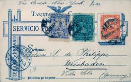 1897 , MÉXICO , ENTERO POSTAL CIRCULADO A WIESBADEN , LLEGADA , FR. COMPLEMENTARIO , VIA LAREDO Y NEW YORK - Messico
