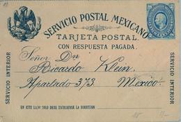 1890 , MÉXICO , ENTERO POSTAL CIRCULADO , SERVICIO INTERIOR - Messico