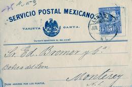 MÉXICO , ENTERO POSTAL CIRCULADO , LINARES - MONTERREY , LLEGADA AL DORSO - Messico
