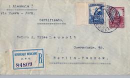1929 MÉXICO , SOBRE ENTERO POSTAL CERTIFICADO , MÉXICO D.F. - BERLIN , THEODOR LEUPOLT - FÁBRICA NACIONAL DE ARMAS - Messico