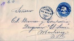 1899  MÉXICO , SOBRE ENTERO POSTAL CIRCULADO , SAN MIGUEL DEL MEZQUITAL - MONTERREY , LLEGADA AL DORSO - Messico