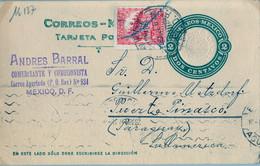 1927  MÉXICO , ENTERO POSTAL CIRCULADO , MÉXICO D.F. - PUERTO PINASCO ( PARAGUAY ) , TRÁNSITO DE ASUNCIÓN - Messico