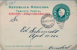 1915  MÉXICO , ENTERO POSTAL CIRCULADO , MÉXICO D.F. , MAT. BUZONES , CORREO INTERIOR , GOBIERNO CONSTITUCIONAL - Messico