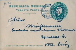 1914  MÉXICO , ENTERO POSTAL CIRCULADO A VERACRUZ , CONTADOR VAPOR ALEMÁN WESTERWALD , LLEGADA - Messico