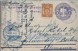 1908  MÉXICO , ENTERO POSTAL CIRCULADO A WILMERSDORF Y REDIRIGIDO A NEURUPPIN - Messico