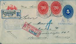 1898  MÉXICO , SOBRE ENTERO POSTAL CERTIFICADO , VERACRUZ - BERLIN , LLEGADA , TRÁNSITO NEW YORK - Messico
