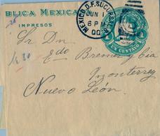 1900 , MÉXICO , FAJA POSTAL PARA IMPRESOS CIRCULADA , MÉXICO D.F. - NUEVO LEÓN - Messico