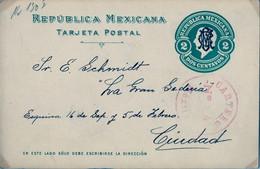 1918 , MÉXICO , ENTERO POSTAL CIRCULADO , MÉXICO D.F. , MARCA DE CARTERO , CORREO INTERIOR - Messico